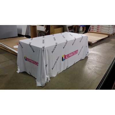 Table cloth: 8ft table 4sided Boxed Hemmed