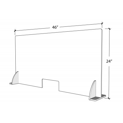 Premium Cough & Sneeze Guard 46x24 4.5mm Acrylic (with stabilizer)  bottom open